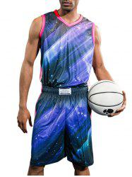 Galaxy Print Quick Dry Breathable Basketball Jersey Suit -