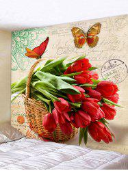 Wall Hanging Art Flowers Butterfly Print Tapestry -