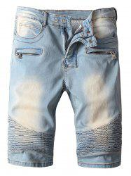 Zipper Fly Pocket Design Light Wash Moto Shorts -