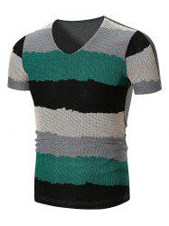 Mesh Wide Stripe V Neck T-Shirt -
