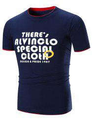 Contrast Color Layered Crew Neck Letter Print T-shirt -