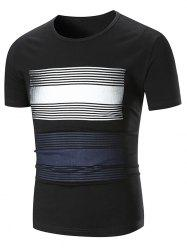 Stripe Print Short Sleeve T-shirt -