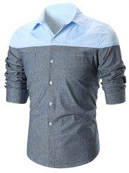 Panel Double Pocket Design Long Sleeve Shirt -