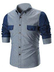Contrast Color Sleeve Flap Pocket Design Shirt -