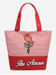 Splicing Roses Embroidery Striped Tote Bag -