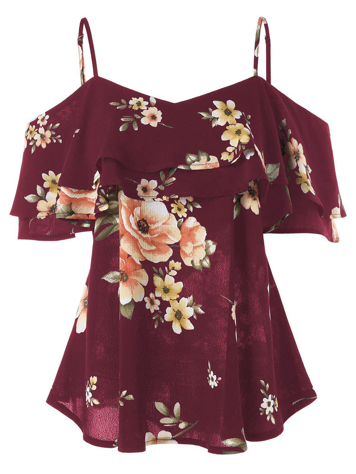 Buy Spaghetti Strap Cold Shoulder Floral Blouse