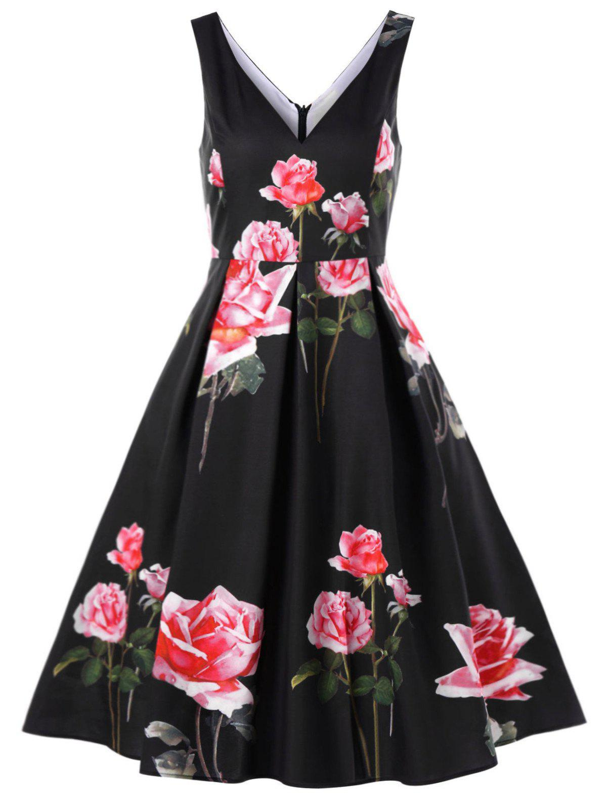 Buy Floral Deep V-neck Vintage Swing Dress