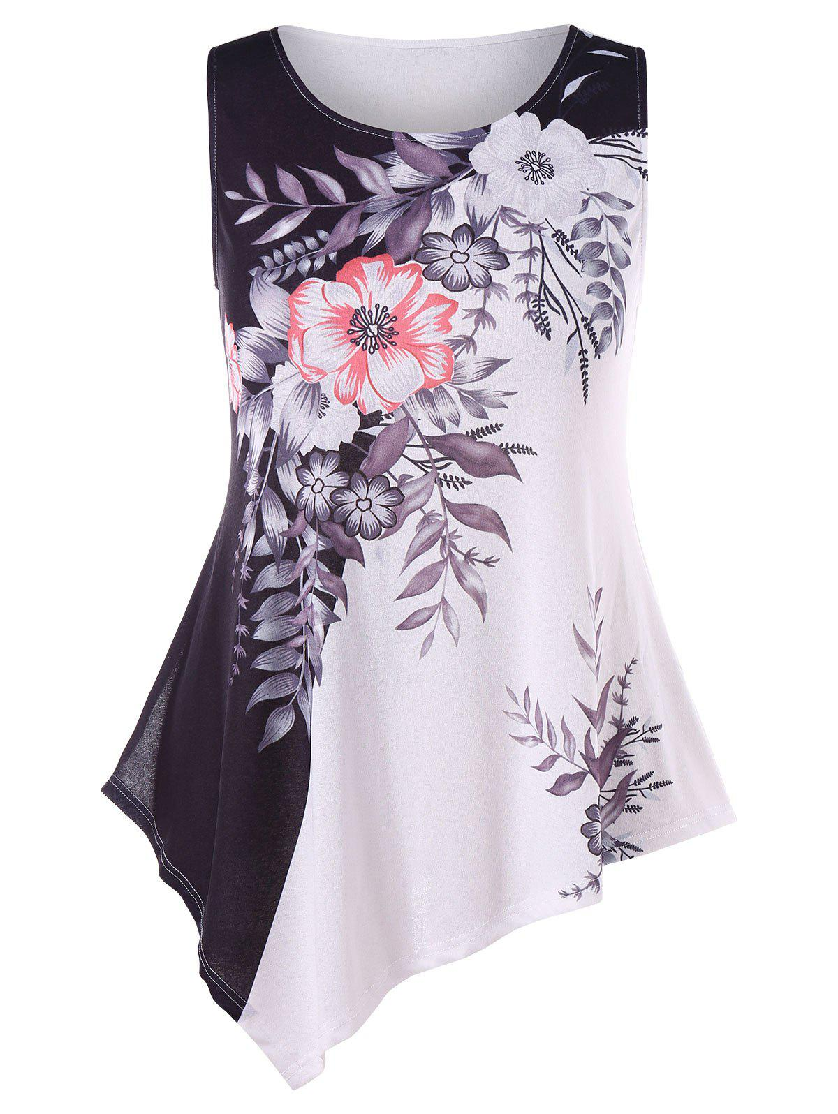 New Plus Size Vibrant Floral Asymmetric Tank Top