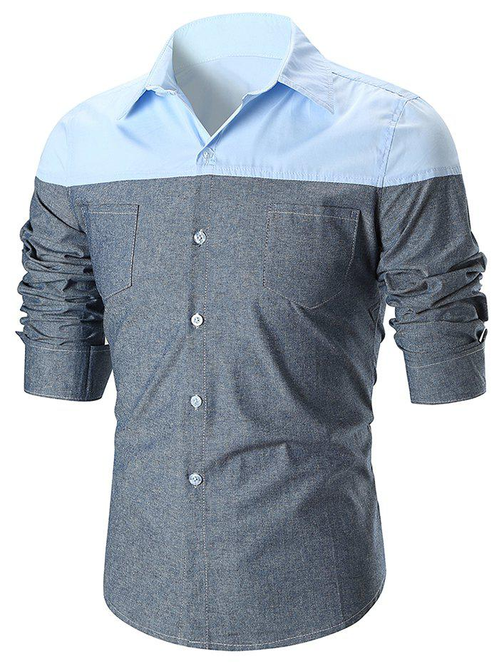 Affordable Panel Double Pocket Design Long Sleeve Shirt
