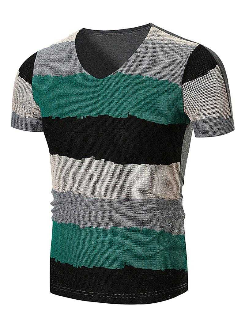 Affordable Mesh Wide Stripe V Neck T-Shirt