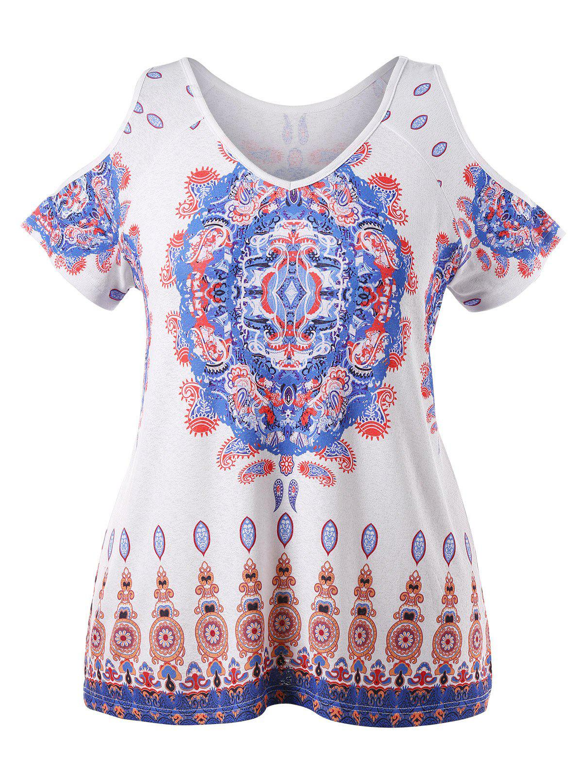 Shop Plus Size Paisley Print Cold Shoulder T-shirt