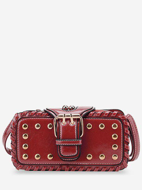 Unique Stud Buckle Closure Crossbody Bag