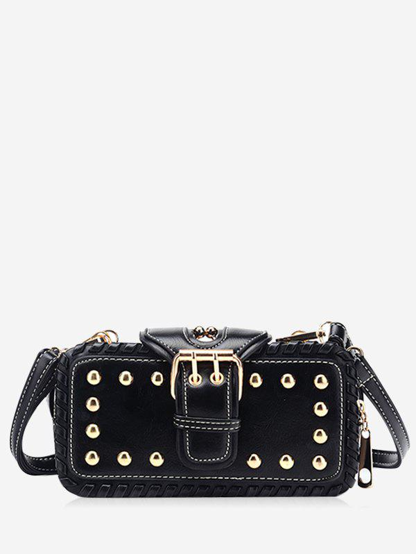 Trendy Stud Buckle Closure Crossbody Bag