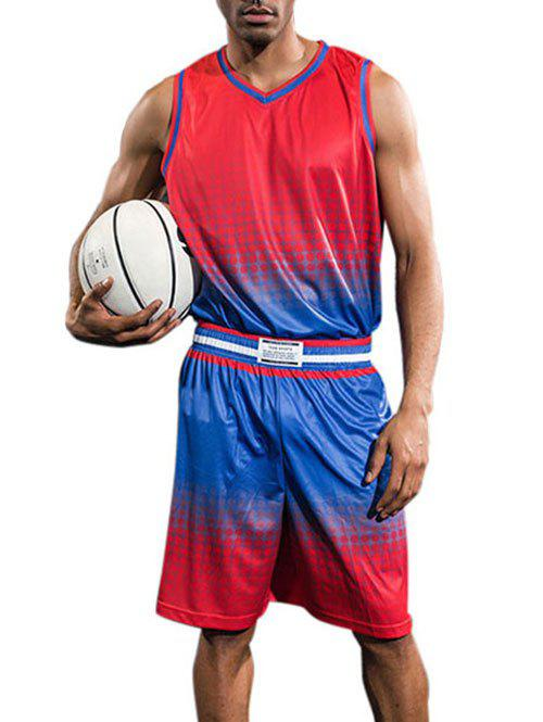 Online Breathable Contrast Color Quick Dry Basketball Jersey Sport Suit