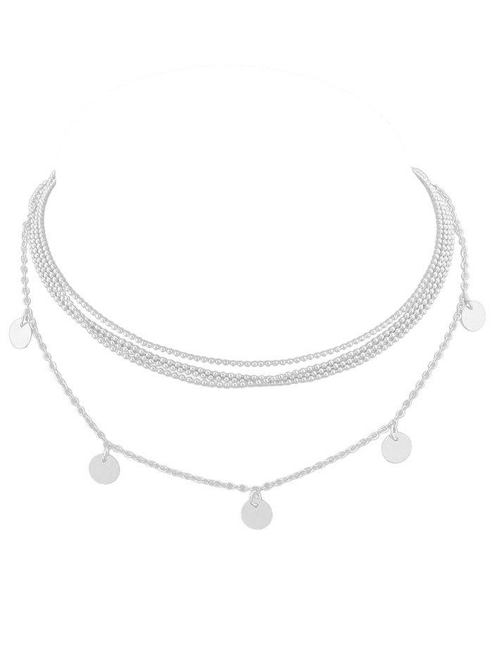 Best Discs Embellished Layered Beaded Necklace