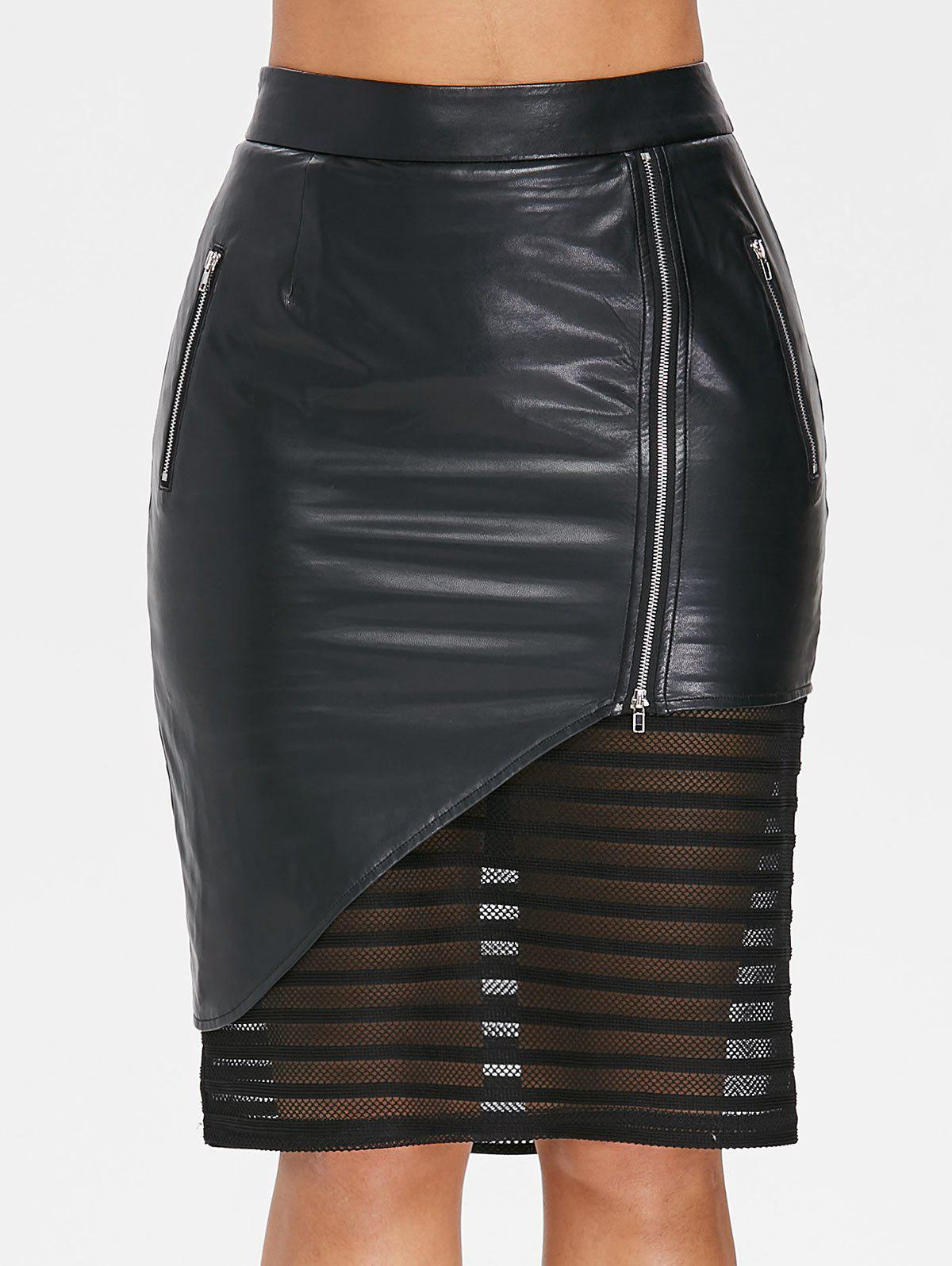 Best Mesh Trim Side Zip PU Leather Skirt