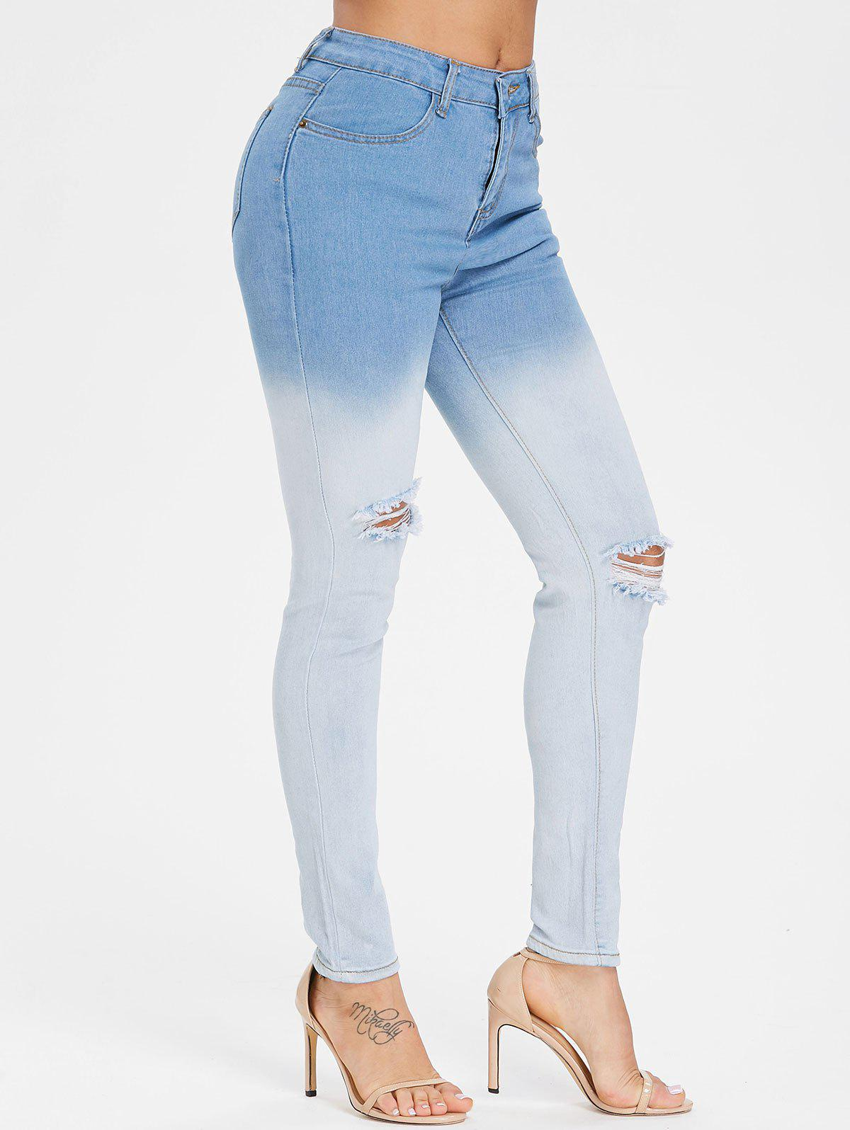 Sale High Waisted Ombre Distressed Jeans