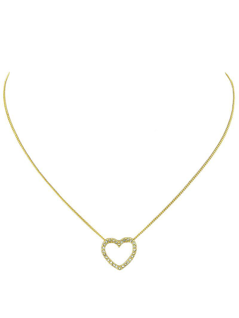 Best Rhinestone Heart Alloy Chain Pendant Necklace