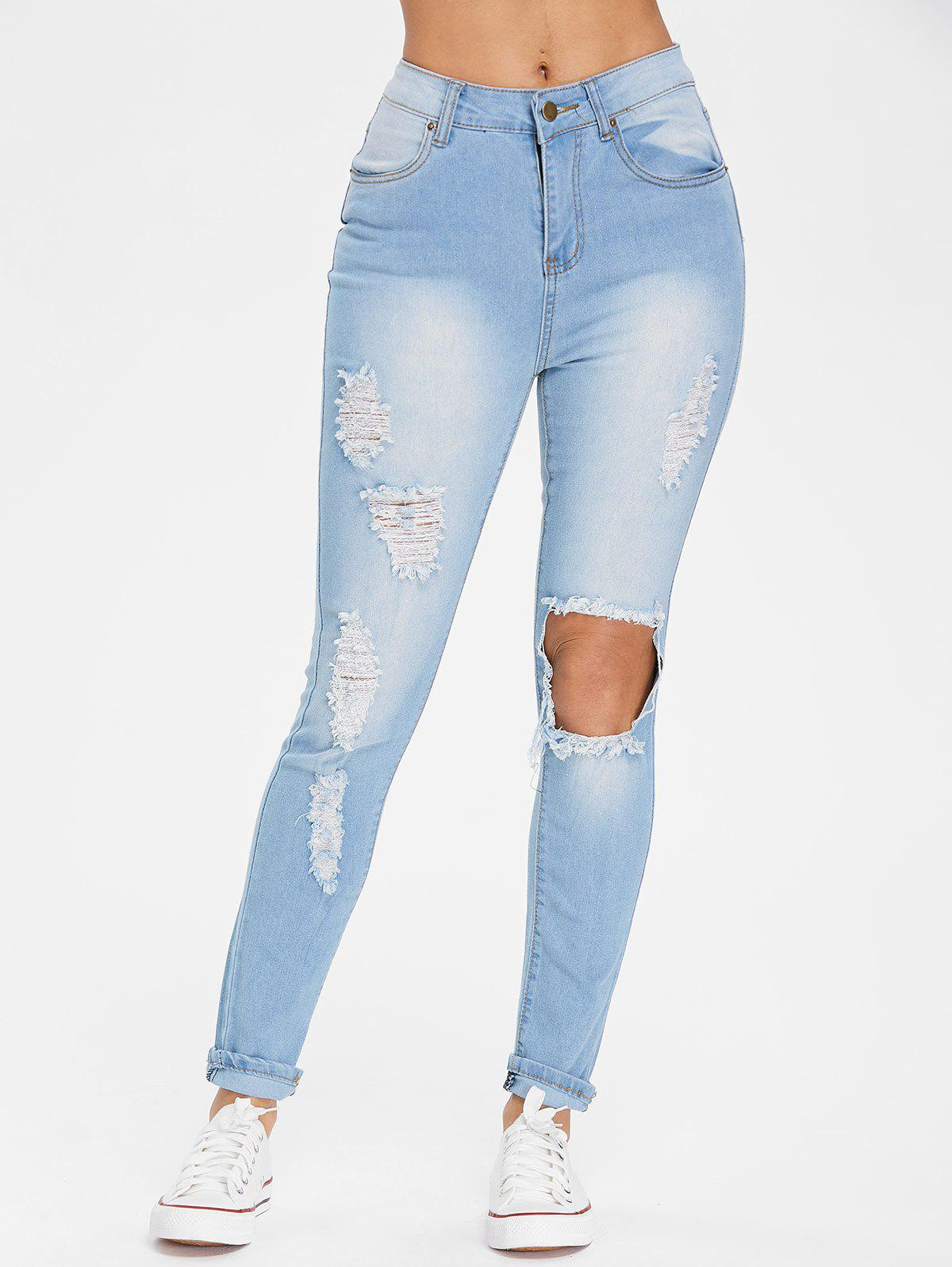 Online High Waisted Torn Jeans