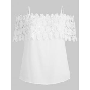 Plus Size Lace Crochet Flounce Blouse -