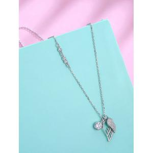 Rhinestone Sterling Silver Wing Pendant Necklace -