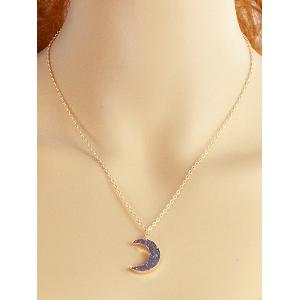 Crescent Moon Alloy Chain Pendant Necklace -
