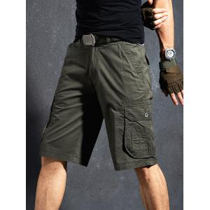 Flap Pocket Applique Zipper Fly Cargo Shorts -