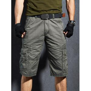 Casual Flap Pockets Zipper Fly Cargo Shorts -