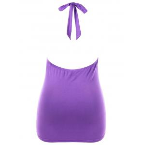 Plus Size Draped Front Embellished Halter Tank Top -