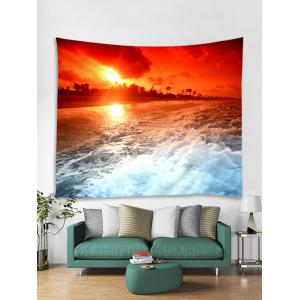 Sunset Sea Wave Printed Tapestry Wall Hanging Decor -