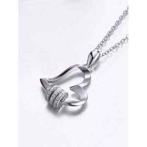 Rhinestone Sterling Silver Heart Pendant Necklace -