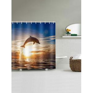 Sunset Dolphin Printed Waterproof Bath Curtain -