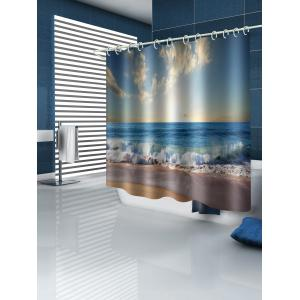Sky Sea Wave Beach Printed Waterproof Bath Curtain -