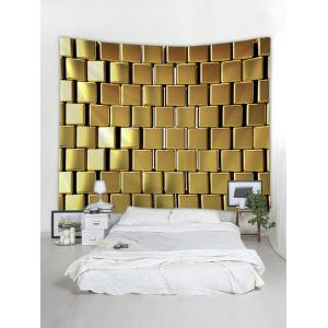 Golden Square Print Wall Hanging Art Tapestry -