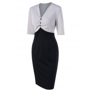 Two Tone Ruched Work Dress -