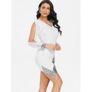 Sequin Trimmed Slit Sleeve Chiffon Party Dress -