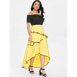 Asymmetrical Ruffle Off Shoulder Dress -