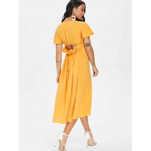 Button Drawstring Cut Out Chiffon Midi Dress -