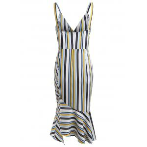 Stripe Deep V Neck Ruffle Slip Dress -