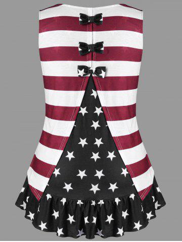 New Plus Size American Flag Tank Top with Bowknot