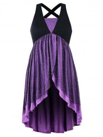 Trendy Plus Size Glittery Overlap Sleeveless Dress