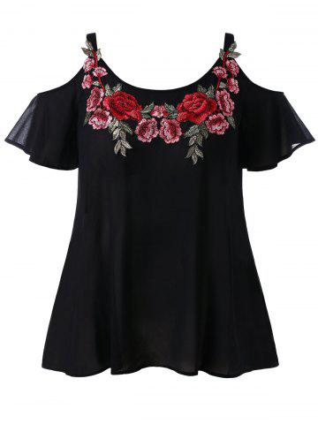 New Plus Size Cold Shoulder Embroidered Blouse