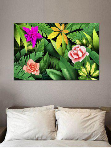 New Tropical Jungle Flowers Print Wall Sticker For Bedrooms