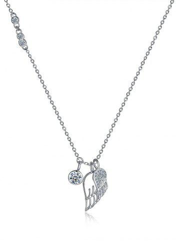 Fashion Rhinestone Sterling Silver Wing Pendant Necklace