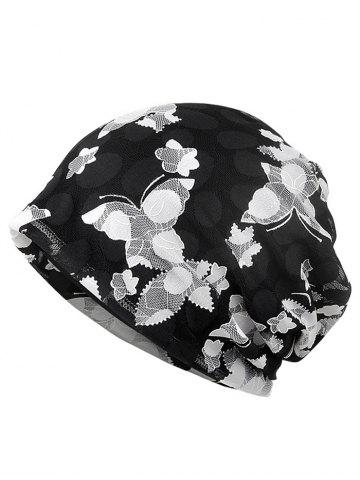Blooming Floral Pattern Lace Slouchy Beanie