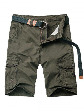 Flap Pocket Applique Zipper Fly Cargo Shorts