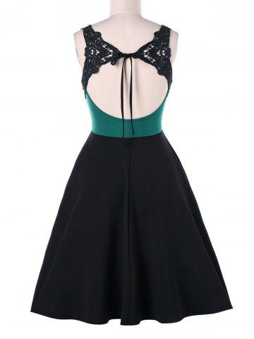 Hot Lace Patchwork Color Block Open Back Dress