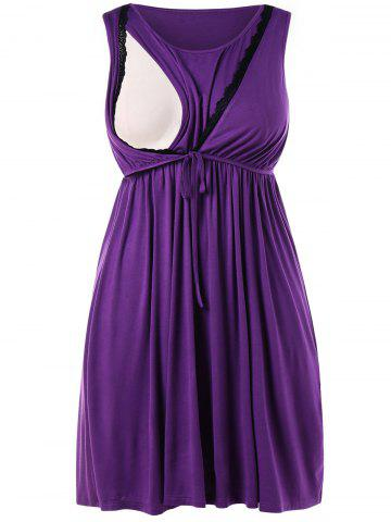Affordable Drawstring Waist Plus Size Nursing Dress