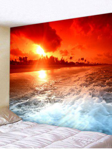 Fancy Sunset Sea Wave Printed Tapestry Wall Hanging Decor