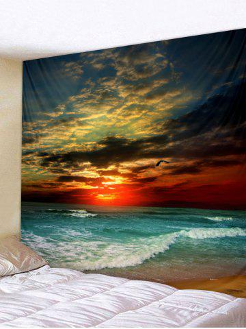 Shops Sunset Sea Wave Printed Tapestry Wall Hanging Decoration